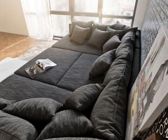 Ecksofa Clovis Xxl 300x185 Schwarz Mit Kissen Hocker Furnituredesigns Home Cinema Room Couches Living Room Modular Sofa