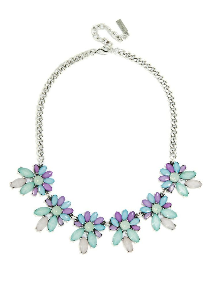 Stay ahead of the curve by rocking Pantone's vibrant 2014 Color of the Year. This cool-colored necklace blends the of-the-moment violet hue with blue and mint stones.