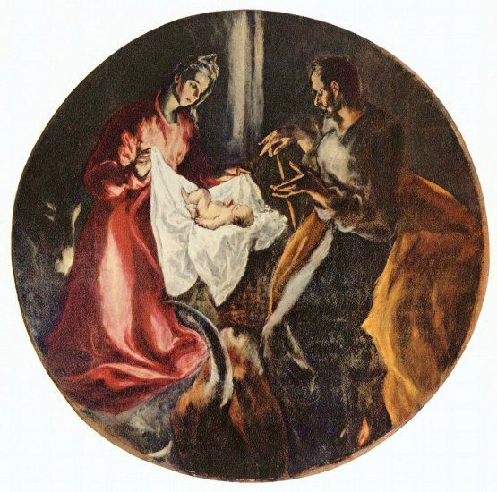 El Greco has spurned the traditional blue for Mary's robe, and Joseph's figure is haloed by a golden cloak. Description from jesus-story.net. I searched for this on bing.com/images