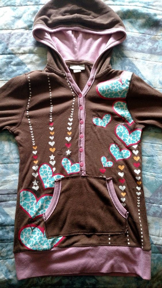 Limited Too Girls Pullover Top Brown with Hearts Size 12 #LimitedToo #Everyday