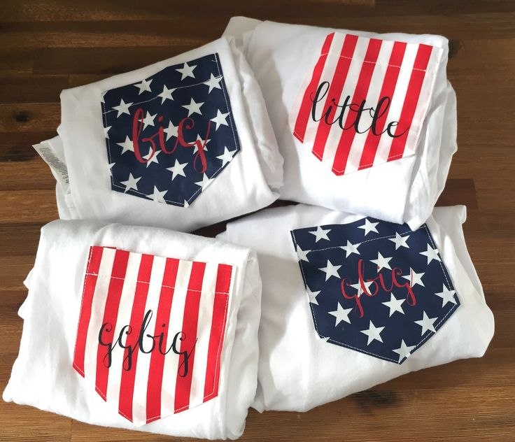 American Flag Stars & Stripe Pocket Tee T-shirt Set of 2 // Mr. and Mrs. // Big and Little // Custom Text // All Sizes by WildKardVintage on Etsy