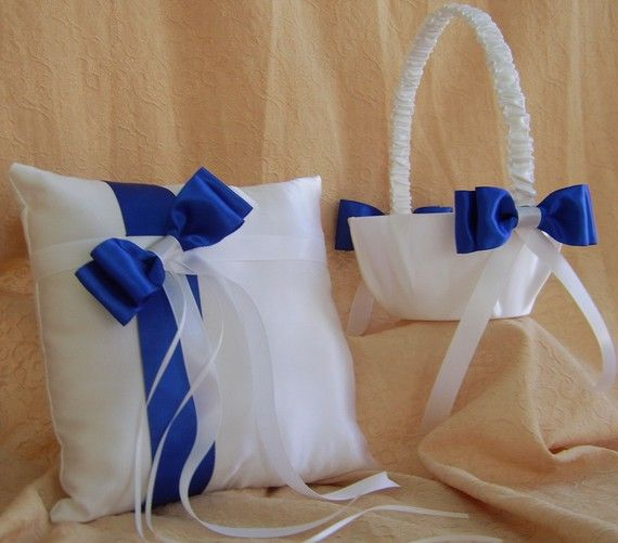 Royal Blue Wedding Flower Girl Basket And Ring