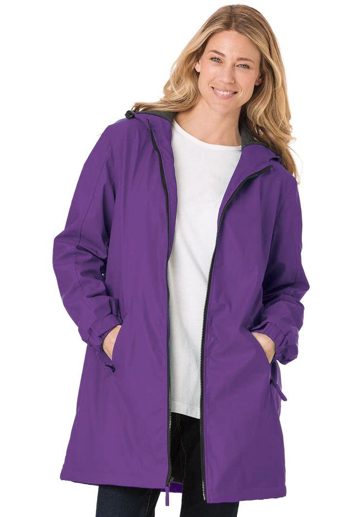 Plus Size Raincoat slicker repels water; drawstring hood, fleece lining