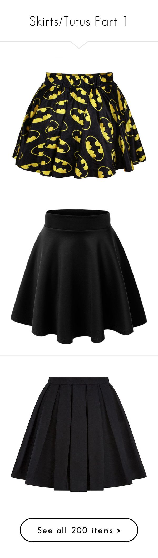 """""""Skirts/Tutus Part 1"""" by kookik ❤ liked on Polyvore featuring skirts, bottoms, batman, saias, patterned skirt, print skirt, black, stretchy skirt, skater skirt and stretch skirt"""