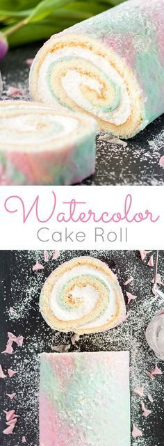 An easy way to fancy up a classic swiss cake roll with a pretty watercolor pattern.   livforcake.com
