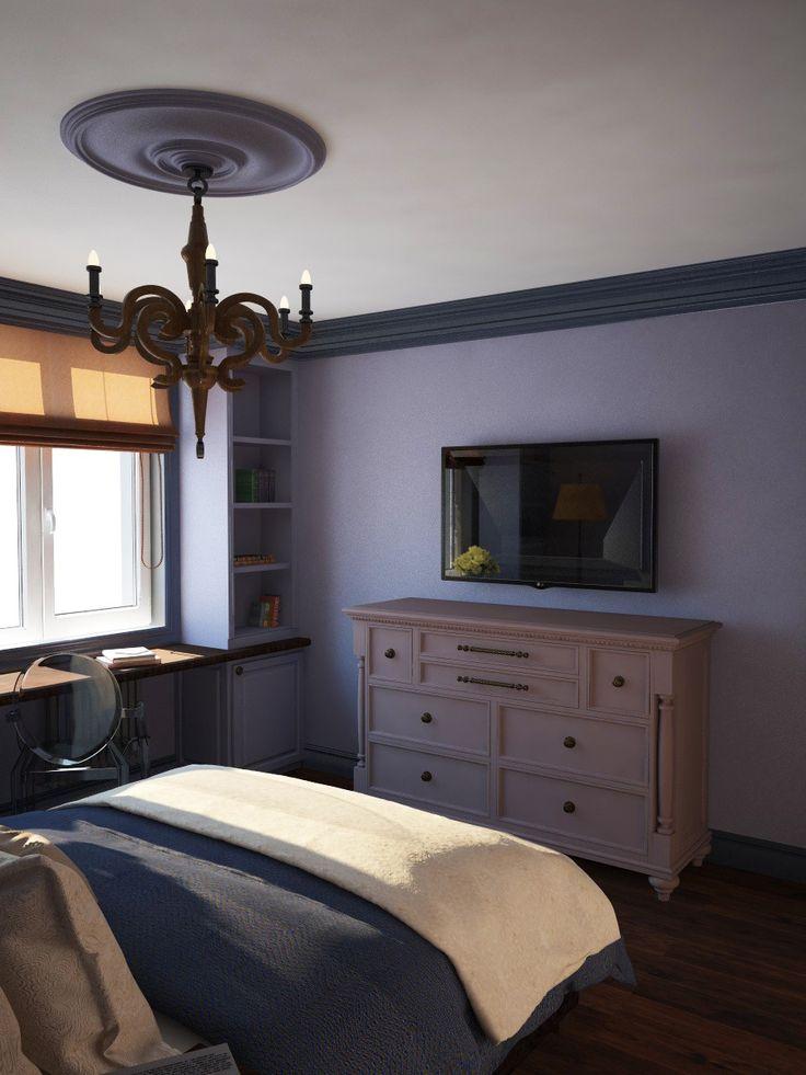 Интерьер спальни, телевизор в спальне, комод системы хранения