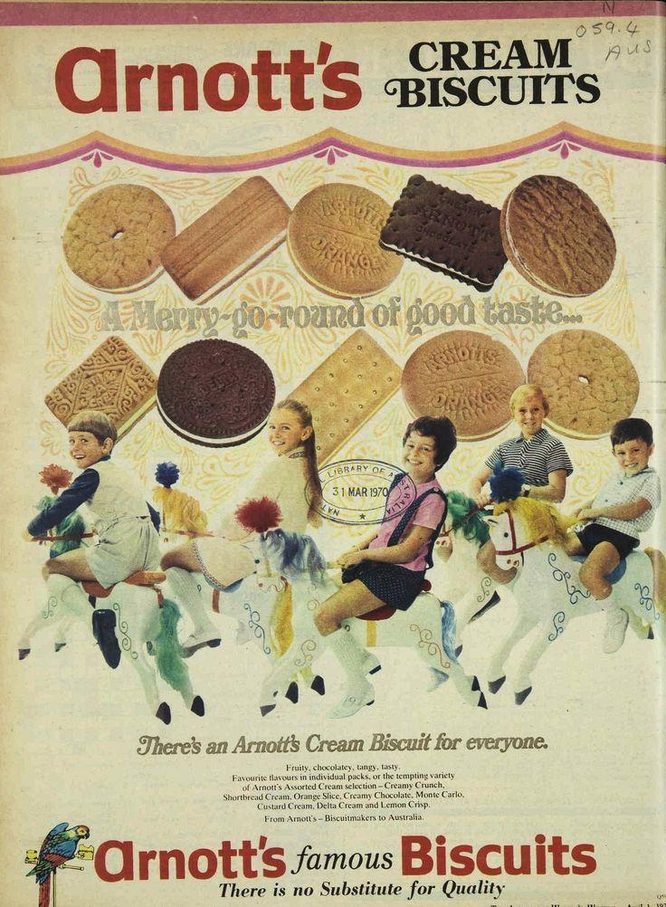 Arnott's Cream Biscuits Advertisement Ad April 1970 Vintage Retro