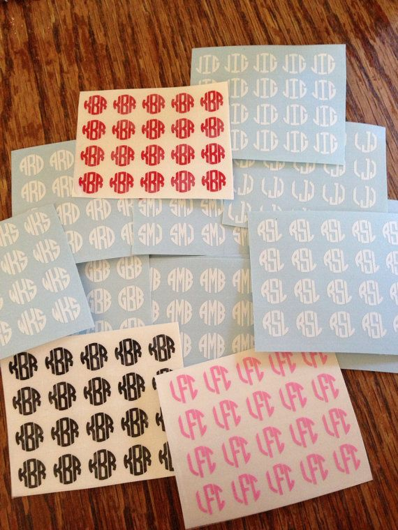 20 Custom Monogram Nail Decals by MoonWorksEmporium on Etsy