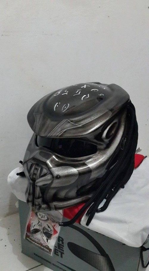 Predator Helmet Custom For Bikers Street Fighter style-Silver #Unbranded