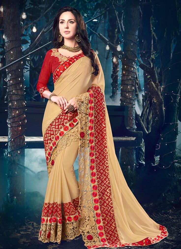 Shop Online Beige Georgette #DesignerSarees @Chennaistore.com