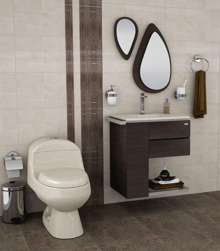 #baño en tonos marrón. Muy sobrio y elegante