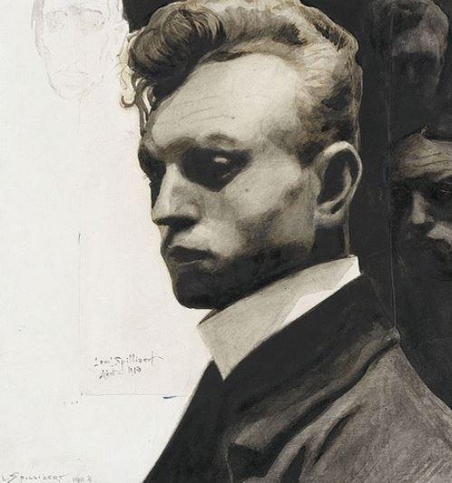 """Léon Spillaert, Autoportrait aux masques (détail), 1903 / Expo """"Archives du rêve"""", Orangerie 2014"""