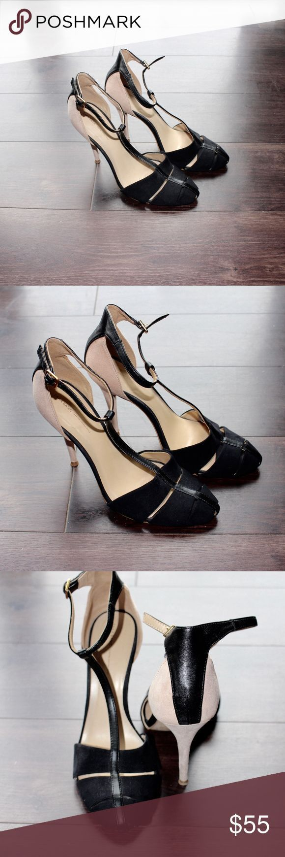 Tendance salopette 2017  Zara T-strap Heel Beautiful two tone t-strap Zara heel in black and beige. Very