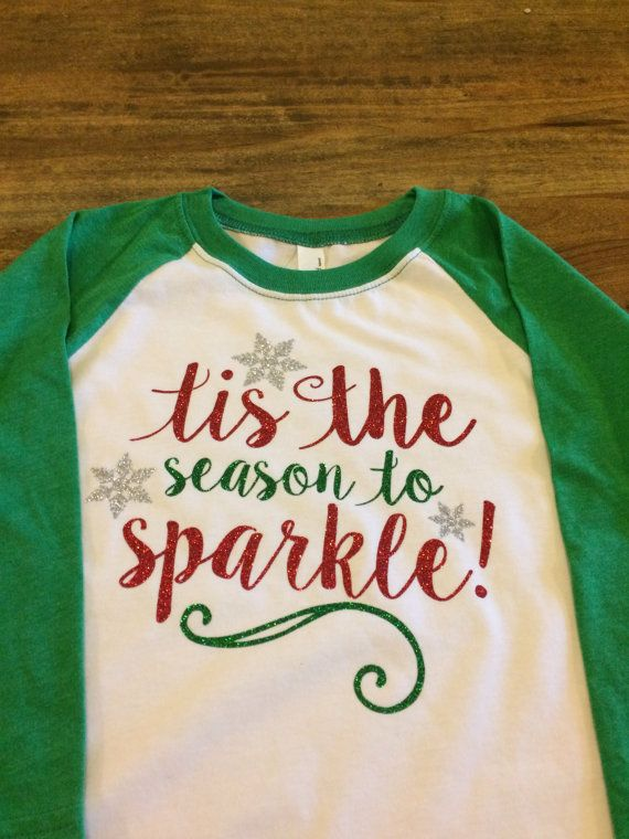 Tis the season to sparkle T-shirt Youth Christmas Raglan