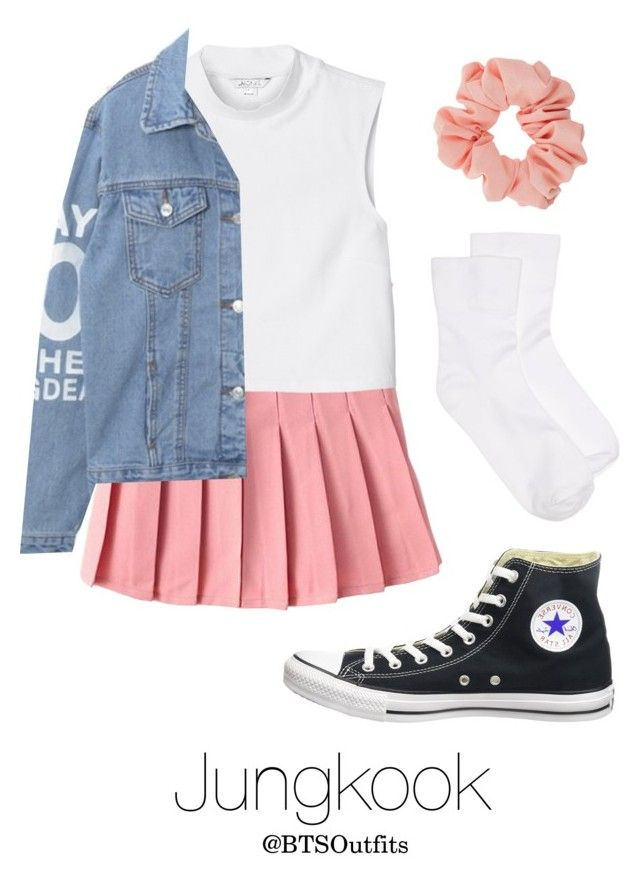 """BTS NOW 3 Inspired: Jungkook"" by btsoutfits ❤ liked on Polyvore featuring Converse, Monki, Hue and Miss Selfridge"