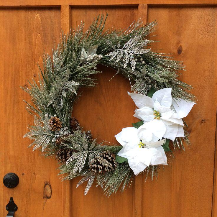 Pine Wreath, Large Wreath, Christmas Wreath, Winter Wreath, Poinsettia Wreath, Front Door Decor, Handmade, Christmas Decor, Made In Canada by DearloveDecorDesign on Etsy