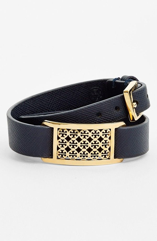 Perfect addition to a stacked wrist | Tory Burch 'Kinsley' Logo Plaque Leather Wrap Bracelet