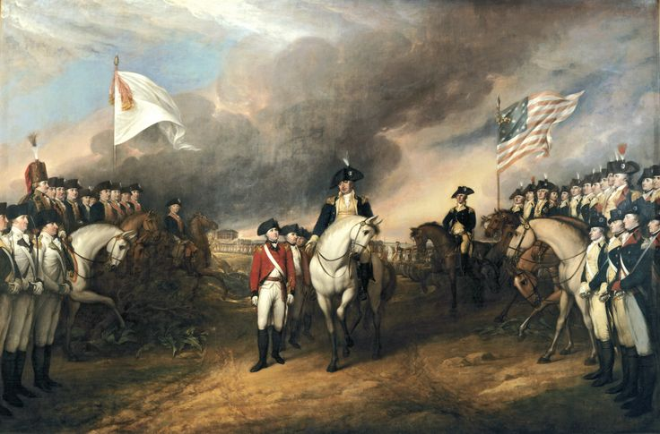 """Surrender of Lord Cornwallis"" (1820) This painting depicts the forces of British Major General Charles Cornwallis, 1st Marquess Cornwallis (1738-1805) (who was not himself present at the surrender), surrendering to French & American forces after the Siege of Yorktown (September 28 – October 19, 1781) during the American Revolutionary War. The United States government commissioned John Trumbull to paint patriotic paintings, including this piece, for them in 1817, paying for the piece in…"