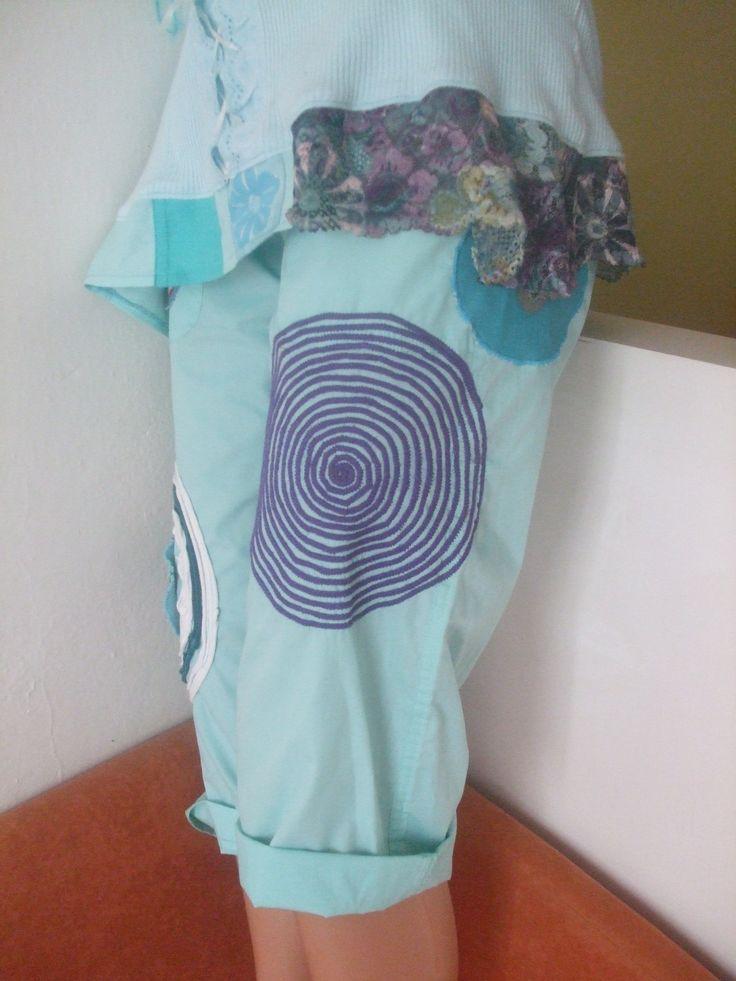 kalhoty S Leny design Plátěnky Velikosti S/M Tyrkysové 3/4-ŤÁKY