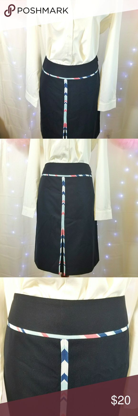 """Loft Strip Trim Skirt Loft Strip Trim Skirt  Blue Loft Skirt with a multi-colored striped ribbon accenting the waist and front of skirt. Size 8. Zips up from the left side. Measurements = 32"""" (Waist), 40"""" (Hips) & 21.5"""" (Total Length). Please let me know if you have any questions.   Size 8. Women's Skirt. LOFT Skirts Midi"""