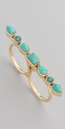 double knuckle ring in one of my favorite color combos.. gold and turquoise