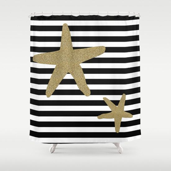 Nautical Shower Curtain - Starfish Shower Curtain Art - Seastar Ocean - Bathroom Starfish Decor - Shower Curtain Sea - Navy Stripped Curtains - Kids -