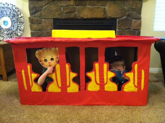 Create your very own Daniel Tiger trolley. You can speak with the children about modes of transportation or you can reenact your favorite Daniel Tiger's Neighborhood program!