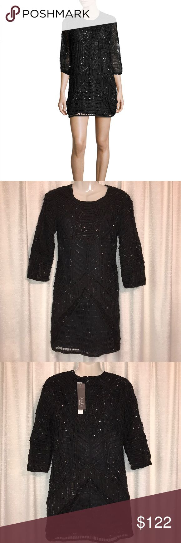 """🎄Parker Black """"Petra"""" Sequined Cocktail Dress 🥂 🎊🥂🎄 So stunning!  Photos can't possibly do this dress justice. SOLD OUT EVERYWHERE!!  Crew neckline. 3/4 Sleeves. Fully lined. Shift silhouette. Back zip. Rayon polyester lining. """"...the Parker girl loves sophistication and sexy all in the same look.""""  Size 6. Length 32"""" from shoulder. Perfect for holiday parties and New Years Eve! 🍸 Parker Dresses Mini"""
