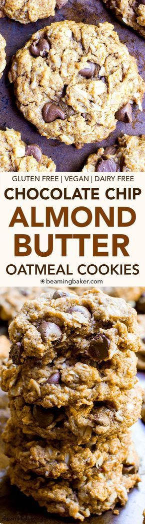 Almond Butter Oatmeal Chocolate Chip Cookies (V+GF): An easy recipe for deliciously simple chocolate chip cookies packed with almond butter, oats and coconut. #Vegan #GlutenFree #DairyFree   BeamingBaker.com
