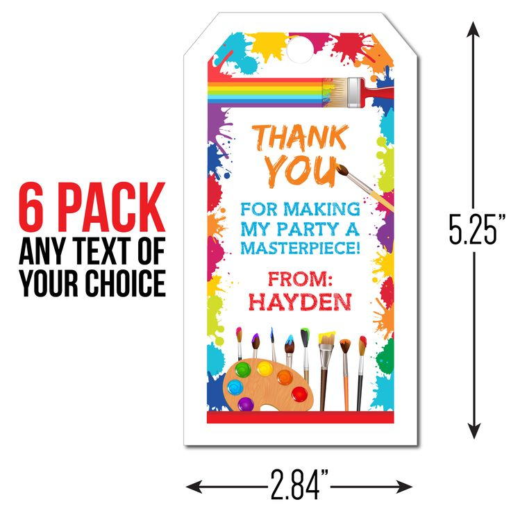 Little Artist PERSONALIZED Thank You Tags - 6 Pk Party Supplies Canada - Open A Party