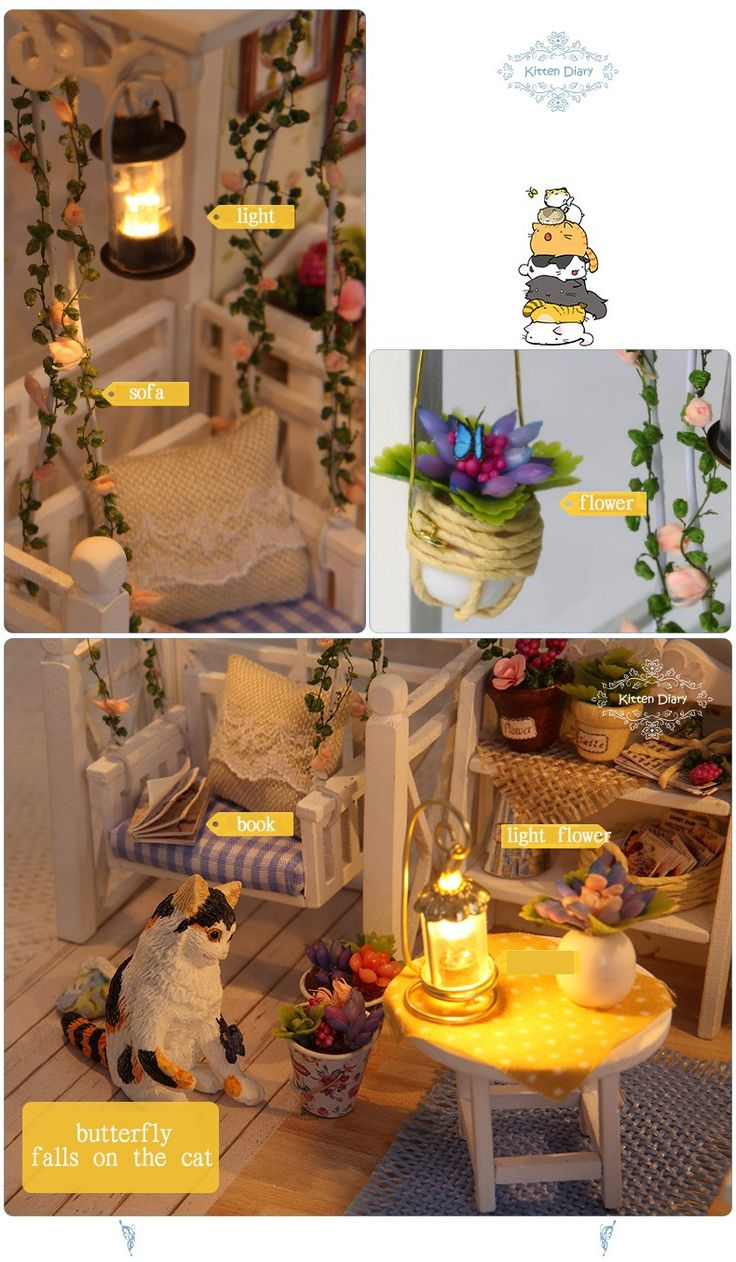 Doll House Furniture Diy Miniature Dust Cover 3D Wooden Miniaturas Dollhouse Toys for Children Birthday Gifts Kitten Diary-in Doll Houses from Toys & Hobbies on Aliexpress.com | Alibaba Group