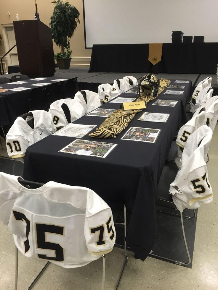 Senior football players table at banquet