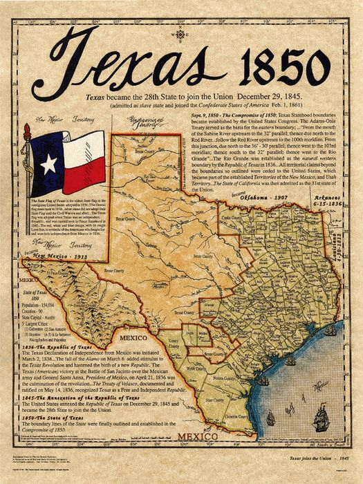 This map is located on a Texas Trading Post site with lots of interesting memorabilia. Another site offers an abundance of fun Texas trivia:  http://www.50states.com/facts/texas.htm