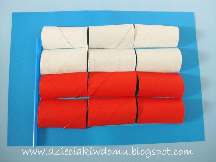flaga polski z rolek po papierze praca plastyczna dla dzieci