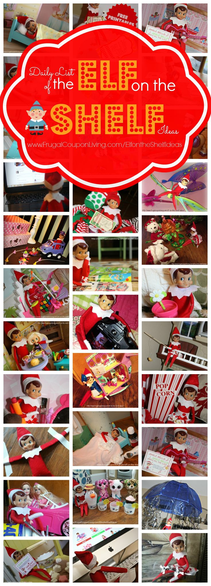 GIGANTIC Daily Elf on the Shelf Ideas all November and December plus FREE Printable Elf on the Shelf Printable Notes and FREE Bendable Elf on the Shelf Tutorial so your Elf can Move. Details on Frugal Coupon Living. http://www.frugalcouponliving.com/elf-on-the-shelf-ideas/
