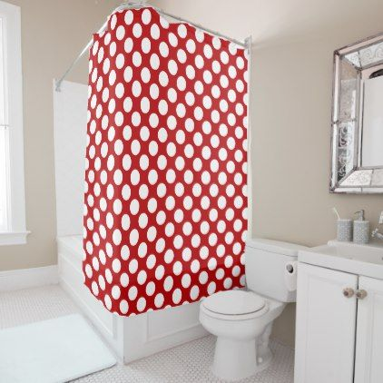 White Polka Dot Design on Red - Shower Curtain - shower gifts diy customize creative