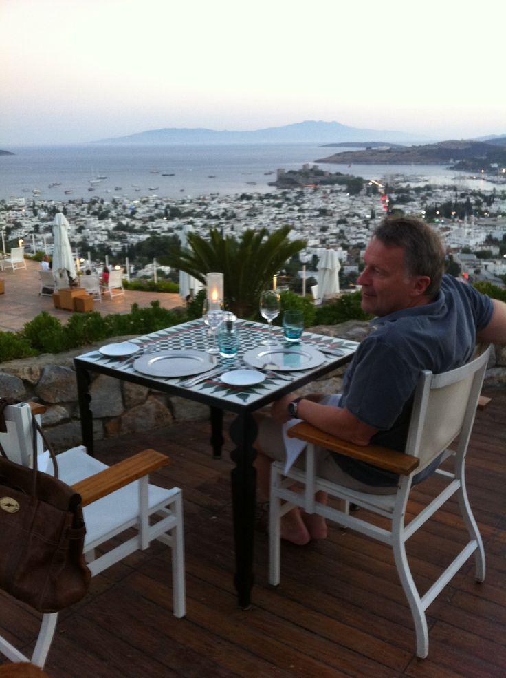 Udsigt og middag på The Marmara i Bodrum tæt ved vores hus