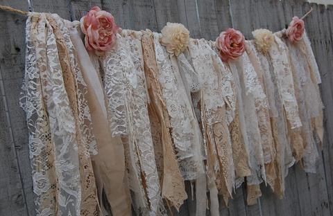 Shabby chic garland, hand tied with aqua and white lace, tulle and aqua burlap and accented with white silk roses. Perfect for a boho chic wedding or shabby chic decor! Just the lace is 48'' wide with