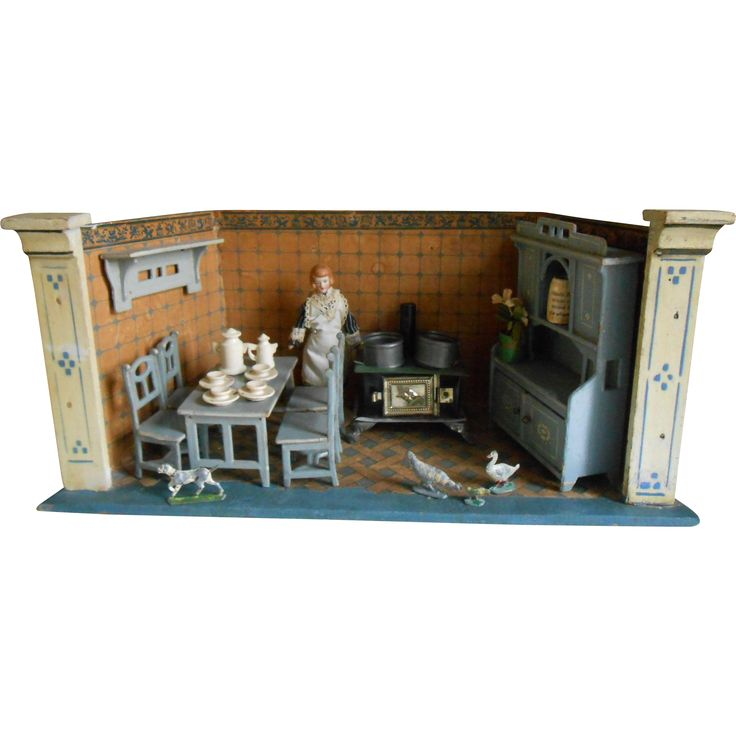**Antique Small MORITZ GOTTSCHALK KITCHEN, COMPLETE !***** | Antique Doll  Room Boxes | Pinterest | Dollhouses, Doll Houses And Dolls
