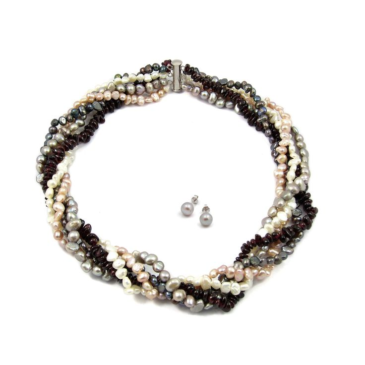 Set Dans de Perle și Granate Orchira & Valero Pearls (cercei, colier)