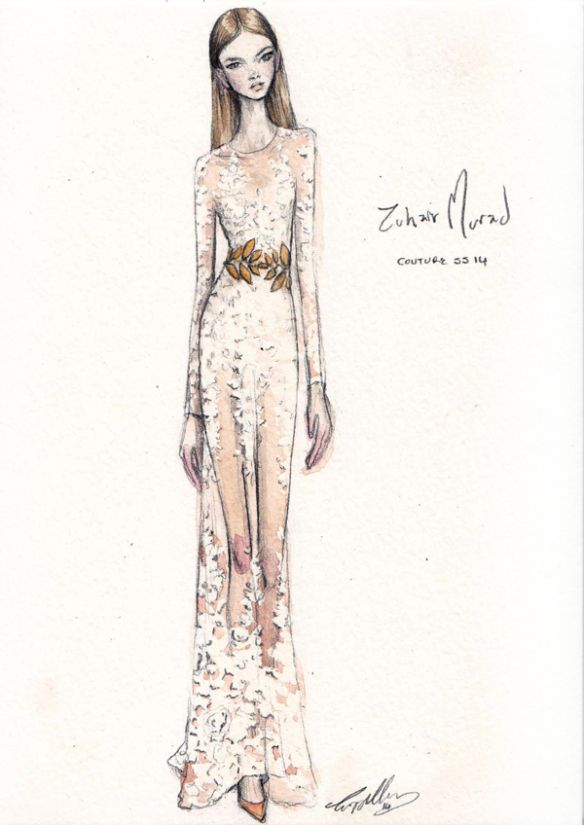 Fashion illustration - perfectly pretty, fashion drawing of Zuhair Murad Haute Couture dress // Pippa McManus