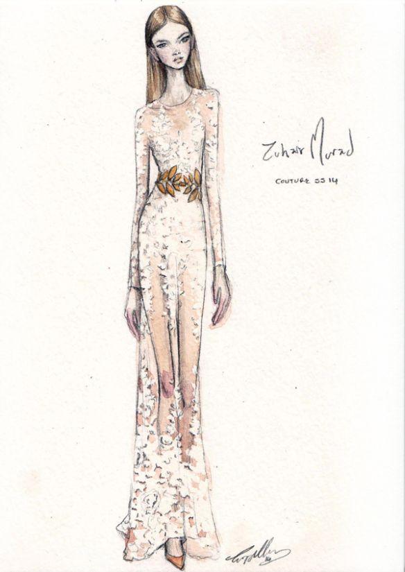 Fashion illustration - perfectly pretty, fashion drawing of Zuhair Murad Haute Couture dress // Pippa McManus