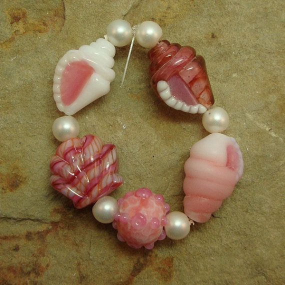 Sale - Peach on the Beach - Tiny Seashell Beads - Five handmade bracelet sized lampwork shell beads by Diane Woodall/SRA