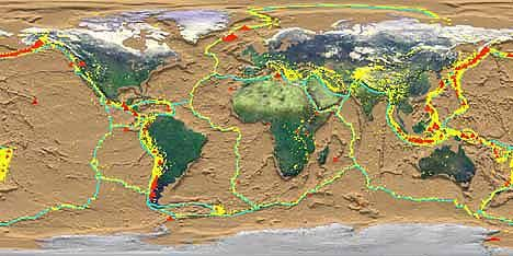 World map showing where the plate tectonics (blue lines), the places of recent earthquakes (yellow dots) and active volcanoes (red triangles). Did you know that every year continents shift about 10 centimeters? You can hardly see/ hear the continents moving.