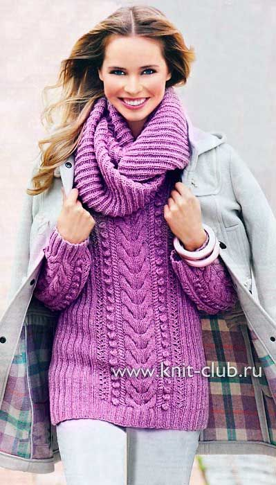Cabled sweater - Russian site, use Google Chrome to translate.  http://samobranochka-l.ru/pulover-i-vorotnik-homut/