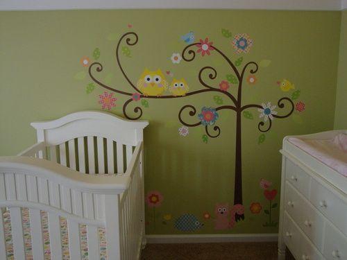 wallWall Decor, Green Wall, Baby Owls, Wall Decals, Kids Room, Girls Room, Baby Room, Kids Decor, Bedrooms Ideas