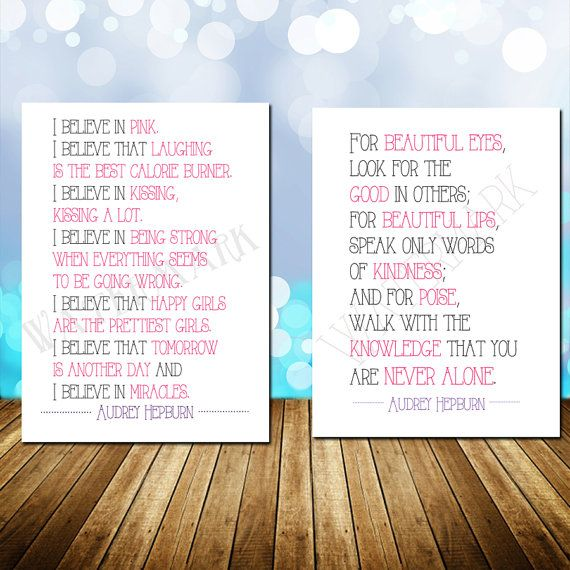 SALE 90% OFF!! Audrey Hepburn Quote Set I Believe In Pink For Beautiful Eyes You Are Never Alone Girls Bedroom Baby Nursery