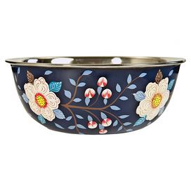 Serve cereal or dessert in this hand-painted steel bowl. Showcasing a vibrant floral design, it teams perfectly with a carved wood dining table, bright gauze fabrics and coloured glass accents for an eclectic look.  Product: BowlConstruction Material: Stainless steelColour: NavyFeatures: Hand-paintedSmall has 0.25 L capacityMedium has 0.8 L capacityDimensions: Small: 5 cm H x 7 cm DiameterMedium: 6 cm H x 12 cm DiameterCleaning and Care: Hand wash only