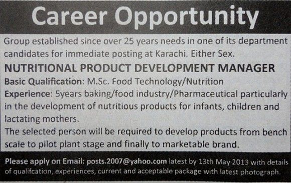 Nutritional Product Development Manager Job in Marketable Brand Company