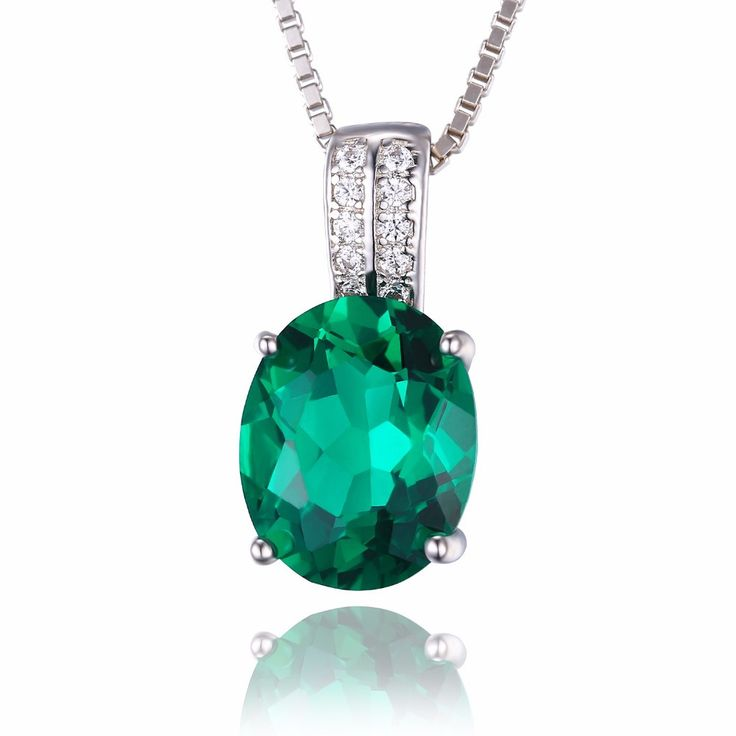 3ct Gem Stone Nano Russian Emerald Pendant Necklace, Genuine Solid 925 Sterling Silver Fine Jewelry For Women from VS Crazy Deals